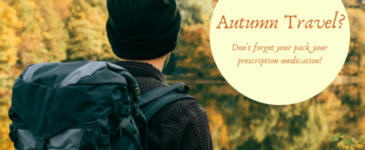 A man with backpack on his autumn travel