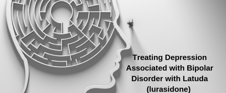 """Human brain with phase of """"Treat Deprssion Associated with bipokar disorder with latuda """""""