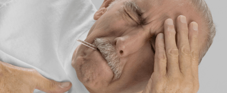 A old man has a headache and chest pain.