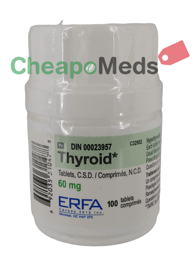 A bottle of Thyroid-Erfa-60mg-100 tablets