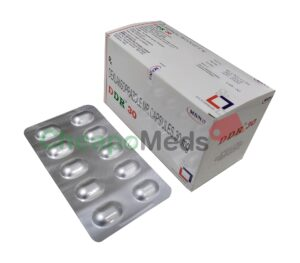A box and blister pack of Delansoprazole Mr capsules30mg