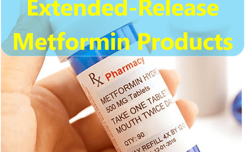 A hand holding of bottle of Rx Metformin Hydro 500mg tablets qty 90