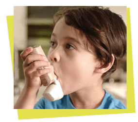 asthma inhalers- a kid using medical device.