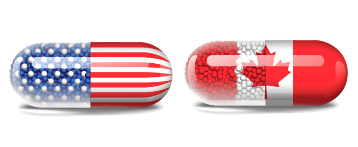 Two images of pills with one is American flag and another is Cananda flag.