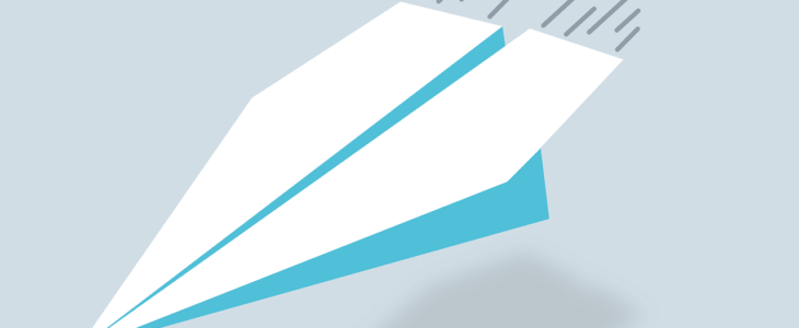 Online prescription delivery- image of paper airplane.