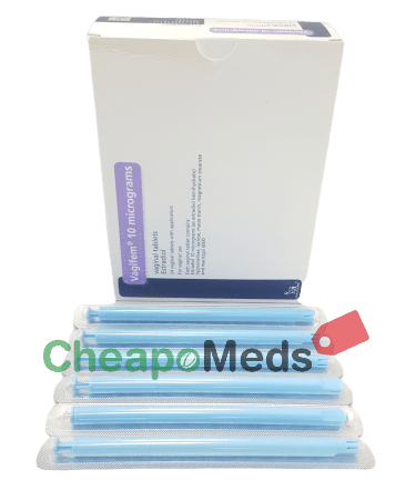 A box and tablets of Vagifem 10 mg
