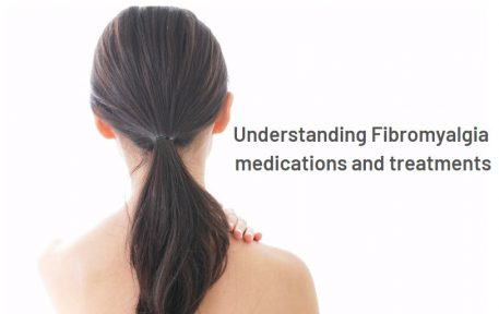 """A back view of a woman with sentence of """"Understanding Fibromyalgia medication and treatments"""""""
