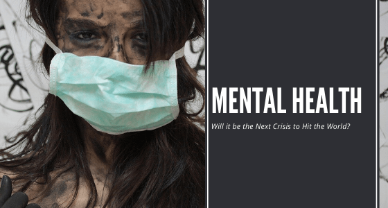 """The lady wearing medical mask, smeared face with phase of """"mental health will it be the next crisis to hit the world"""""""