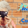 A woman with a black camera and a word of restasis